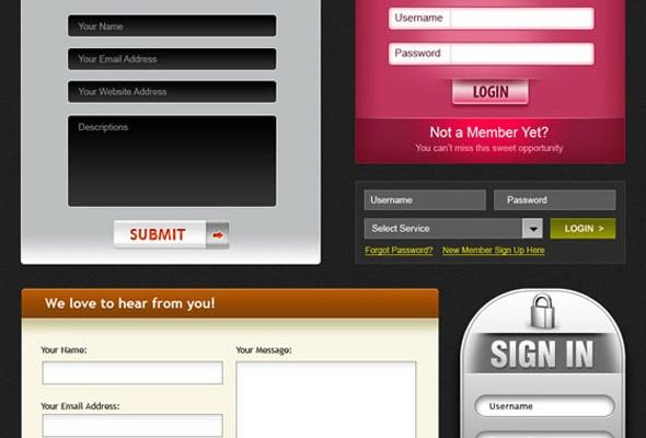 formularios de registro en PSD