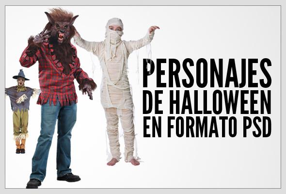 Personajes para Halloween en PSD