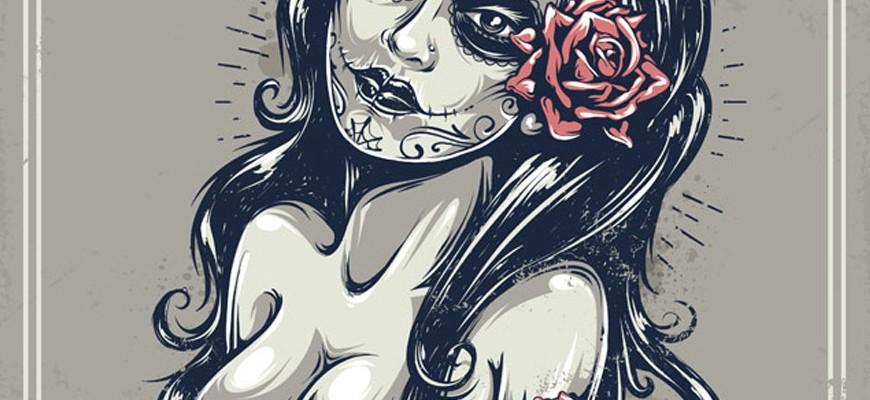 Ilustración con estilo tattoo en Illustrator