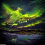 Aurora boreal en Islandia que tomó la forma del ave fénix.